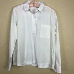 Theory NWT White Wide Placket Popover S